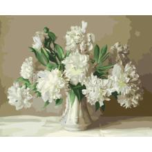 """Картины по номерам """"Белые пионы в вазе"""""""