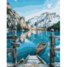 """Картина по номерам """"Лодка у озера Браес"""""""