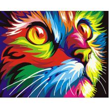 """Картина по номерам """"Радужный кот"""""""