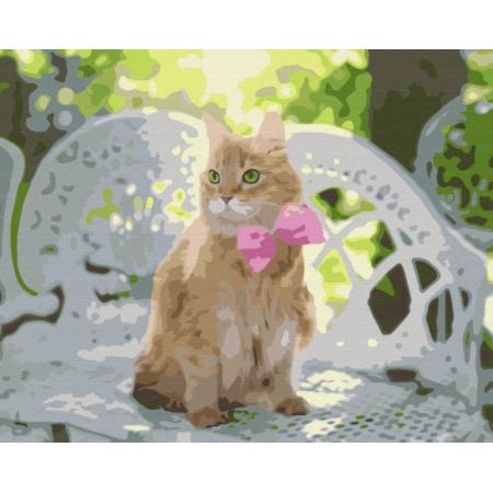 """Картина по номерам """"Рыжик с розовым бантиком"""""""