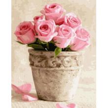 """Картины по номерам """"Розовые розы в горшочке"""""""