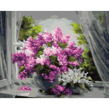 """Картина по номерам """"Сирень на окне"""""""